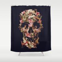 jungle Shower Curtains featuring Jungle Skull by Ali GULEC