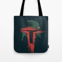 hunter Tote Bags featuring Bounty Hunter by Victor Vercesi