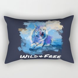 Wild and Free - Wolf illustration, quote Rectangular Pillow