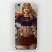 supergirl iPhone & iPod Skins featuring Supergirl by Pat Ventura
