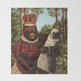 Monkey Queen with Pug Baby Throw Blanket