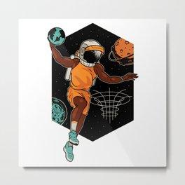 Black Astronaut Space Basketball Player Metal Print