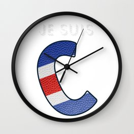 Je suis Charlie trans - Navy Alphabet - Leather Wall Clock