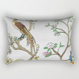 Chinoiserie Panels 4-5 Silver Gray Raw Silk - Casart Scenoiserie Collection Rectangular Pillow