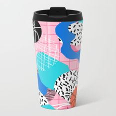 Hot Hand - memphis retro throwback neon grid pattern minimal modern pop art basketball sports Metal Travel Mug