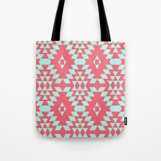 aztec Inspired Pattern Teal & Pink Tote Bag