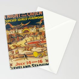 a night in the orient   circus - girls - fireworks  oude poster Stationery Cards