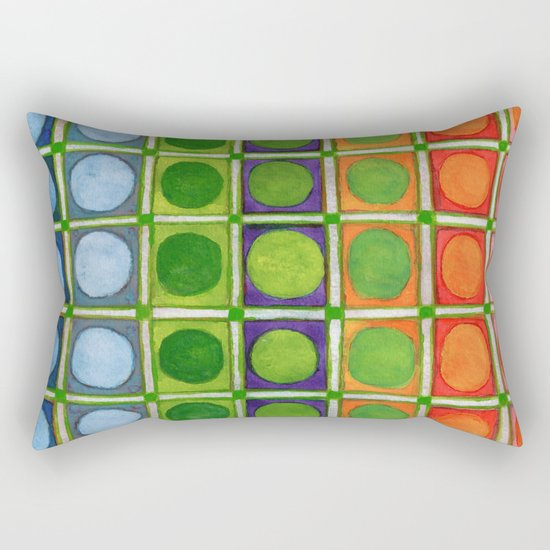 Beautiful Rainbow Colored Circles in a Grid Rectangular Pillow