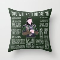 loki Throw Pillows featuring Loki by MacGuffin Designs