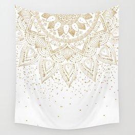Elegant Gold Mandala Confetti Design Wall Tapestry