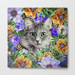 Cat in Flowers. Spring Metal Print