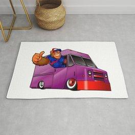Cartoon illustration of a gorilla driving a van Rug
