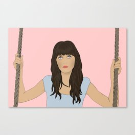 Zooey Deschanel Cartoon  Canvas Print