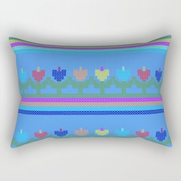 Childish Embroidered Flowers Rectangular Pillow