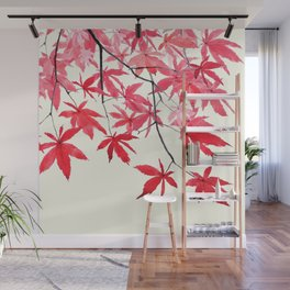 red maple leaves watercolor painting Wall Mural