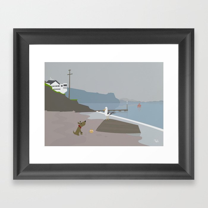 Dog And Bird Boat Beach Wall Art Nursery Decor