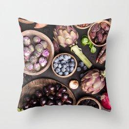 Assortment raw organic of purple ingredients Throw Pillow