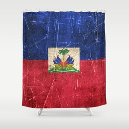 Vintage Aged and Scratched Haitian Flag Shower Curtain