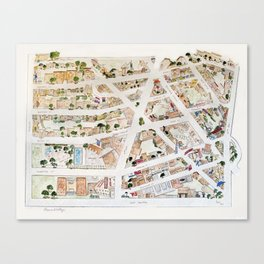 Greenwich Village Map by Harlem Sketches Canvas Print