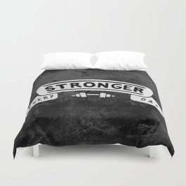 Stronger Every Day (dumbbell, black & white) Duvet Cover