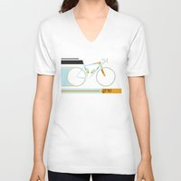 bike V-neck T-shirts featuring Bike by Wyatt Design