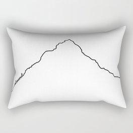 Mt Everest Art Print / White Background Black Line Minimalist Mountain Sketch Rectangular Pillow