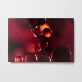 Garnet Red Macro Water Droplets Metal Print