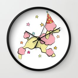 Poodle Birthday Party Wall Clock