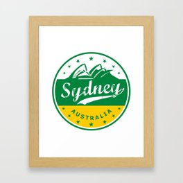 Sydney City, Australia, circle, green yellow Framed Art Print