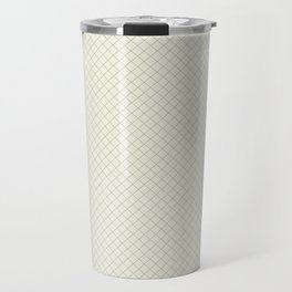 Earthy Green on Cream Parable to 2020 Color of the Year Back to Nature Angled Grid Pattern Travel Mug