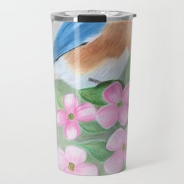 blue bird and dogwood Travel Mug