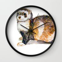 ferret Wall Clocks featuring Ferret by Tesseract