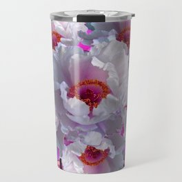 BUTTERFLIES MODERN WHITE TREE PEONY FLOWERS CORAL ART Travel Mug