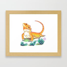 Bearded Dragon - Turquoise Crystals Framed Art Print