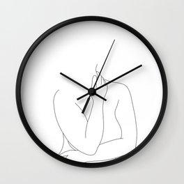 Nude figure line drawing - Eila Wall Clock