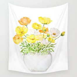 yellow orange and white poppy Wall Tapestry