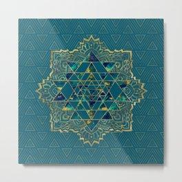 Sri Yantra  / Sri Chakra Gold, Marble and Teal Metal Print