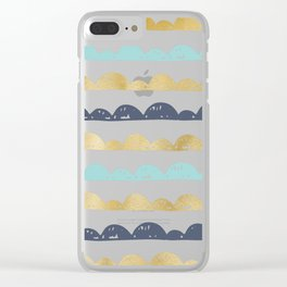 Golden Pastel Clouds Clear iPhone Case