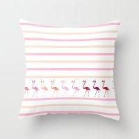 flamingos Throw Pillows featuring FLAMInGOS by Monika Strigel