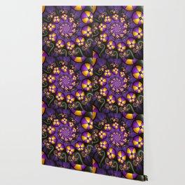 Playful Fractals Fun,  Modern Purple Yellow Spirals Wallpaper
