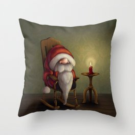 New edit: Little Santa in his rocking chair Throw Pillow