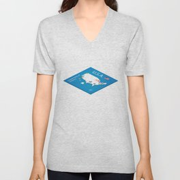 Isometric map of the USA - 3D Vector Illustration Unisex V-Neck