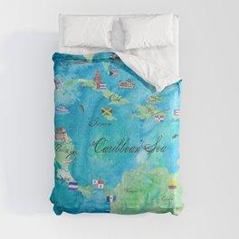 Caribbean Cruise Travel Poster Map Antilles West Indies Cuba Florida Comforters