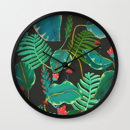 dark tropical red flowers Wall Clock