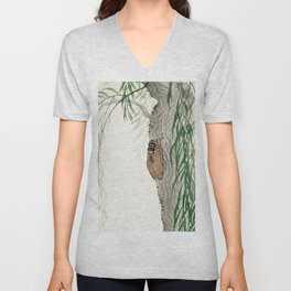 Cicada on a weeping willow tree - Japanese vintage woodblock print Unisex V-Neck