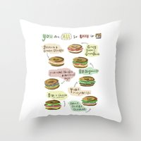 biology Throw Pillows featuring Bagel Biology by Faye Finney