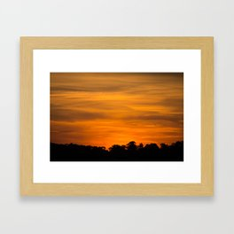 Orange Sunset Over Tree Line Framed Art Print