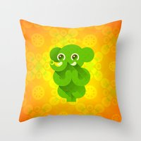 ganesha Throw Pillows featuring Ganesha by Plushedelica