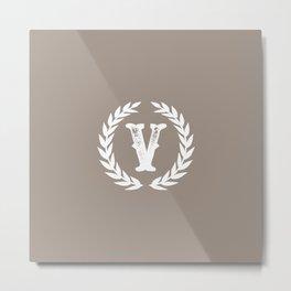Beige Monogram: Letter V Metal Print
