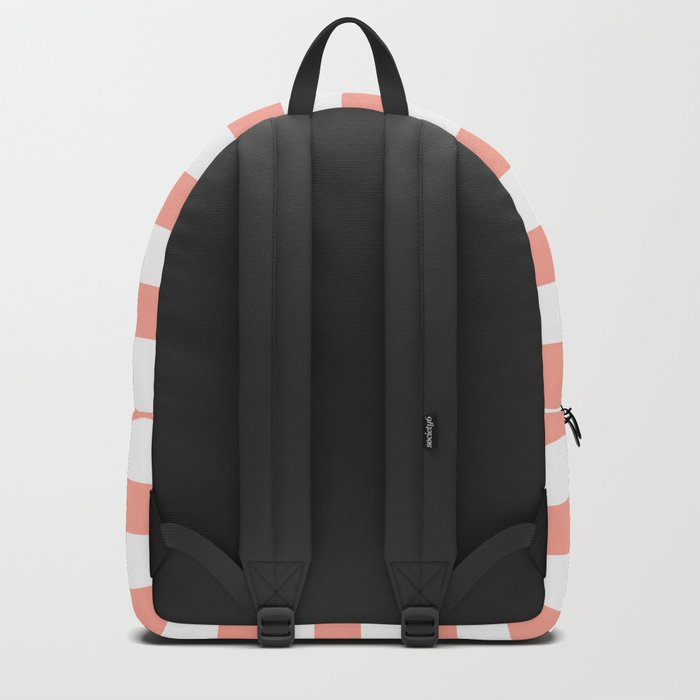 Simply Striped in Salmon Pink and White Backpack